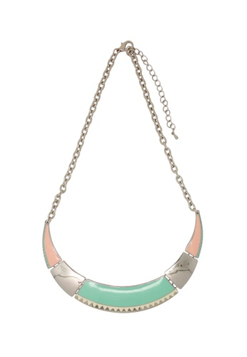 Jaysa Collection silver Pastel Colors Crescent Necklace JA875AC0F1YNSG_1