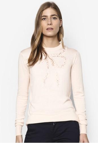 蕾絲領結構京站 esprit圖長袖衫, 服飾, 外套