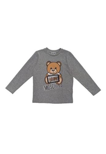 MOSCHINO BABY KID TEEN grey MOSCHINO KIDS LONG SLEEVE T-SHIRT C9B16KAB3E0175GS_1