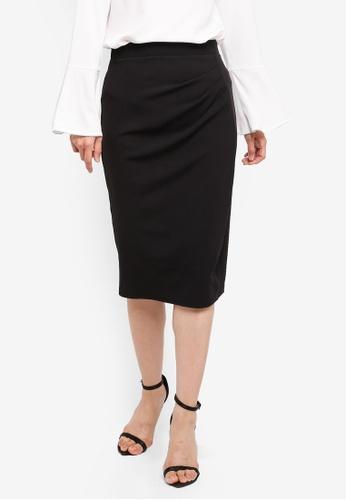 Dorothy Perkins 黑色 褶飾鉛筆裙 E048BAA6E3662BGS_1