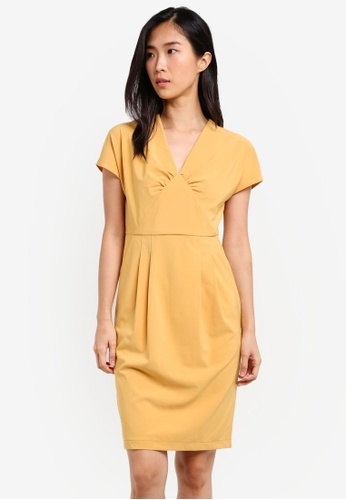 ZALORA yellow Sheath Dress With Gathered 69C50AA313F47DGS_1