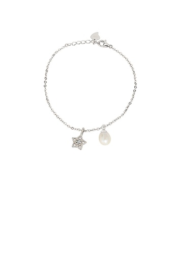 Glamorousky white 925 Sterling Silver Simple Fashion Star Freshwater Pearl Bracelet with Cubic Zirconia 13D95ACAF011B9GS_1
