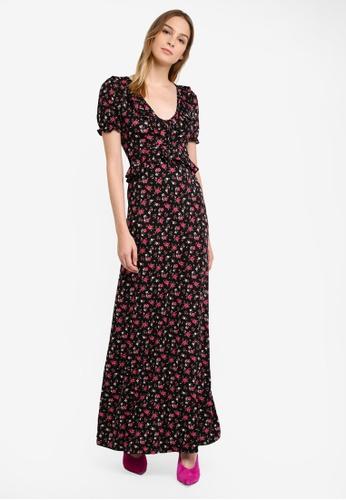 Miss Selfridge black and multi Premium Ditsy Floral Print Maxi Dress MI665AA0RZGXMY_1