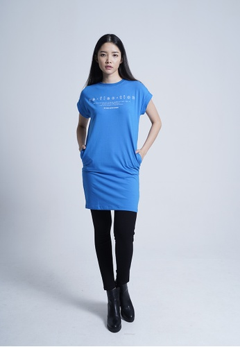 SUB blue Women Dress With Front Slogan CEE69AAE871DCAGS_1