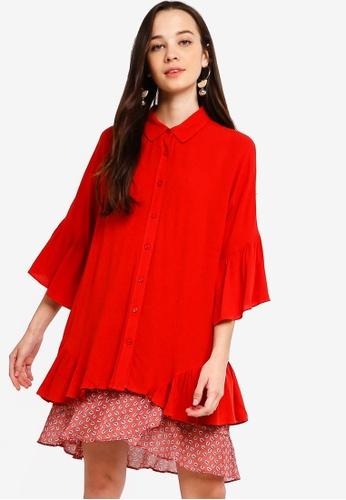 Something Borrowed 紅色 Ruffles Hem Flowy Shirt 1E1BDAAAECF112GS_1