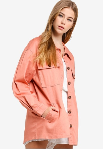 Something Borrowed pink Utility Jacket With Trim A3D73AA78D70C4GS_1