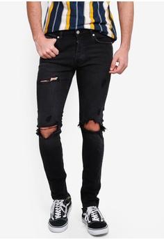 27ae33adf Topman black Washed Black Blowout Jeans 9B7F3AA6E6C488GS_1