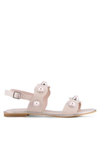 VINCCI beige Pearl Strap Sandals VI831SH0SY86MY_1