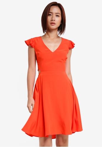 ZALORA orange Open Back Fit And Flare Dress CDAEDAAF30AE95GS_1