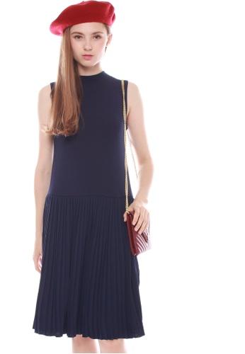 JOVET blue Turtleneck Pleated Dress JO914AA0HBDNSG_1