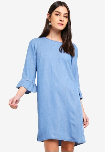 Vero Moda blue Lissy 3/4 Sleeve Summer Dress 07810AAC6E91AAGS_1