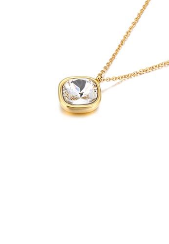 Glamorousky white Simple Personality Plated Gold Geometric Square White Cubic Zirconia 316L Stainless Steel Pendant with Necklace D4357AC58FE454GS_1
