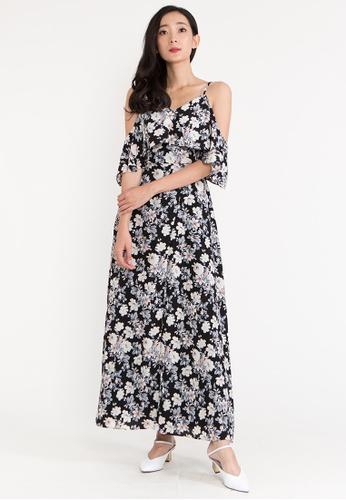 BEBEBEIGE black BebeBeige Open Shoulder Sleeveless Floral Evening Long Dinner Dress F1D21AA50B5658GS_1