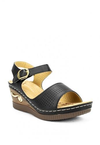 Cardam's Lifestyle black CLS 91473 Black Wedge Sandals 3F184SH98E4DBCGS_1