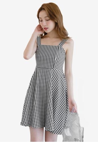 Eyescream black Gingham Checkered Mini Dress C43D2AA24CABE0GS_1