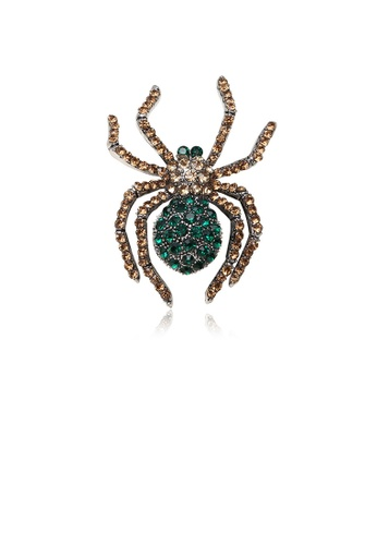 Glamorousky brown Fashion Personality Spider Brooch with Green Cubic Zirconia 3268BACF0FDFDDGS_1