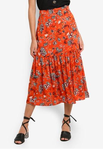 Glamorous orange Folk Floral Skirt 45C59AAEC39827GS_1