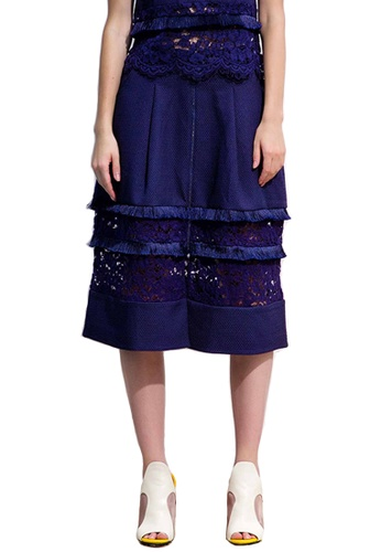 N12H navy Lace and Fringe Skirt N1377AA0GQJUSG_1