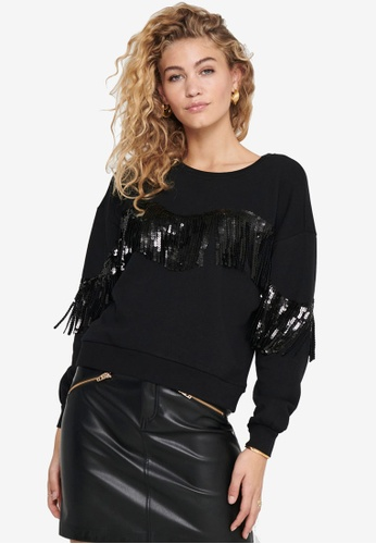 ONLY black Assy Life Long Sleeve O-Neck Sweatshirt A5FF2AA3A83B4DGS_1