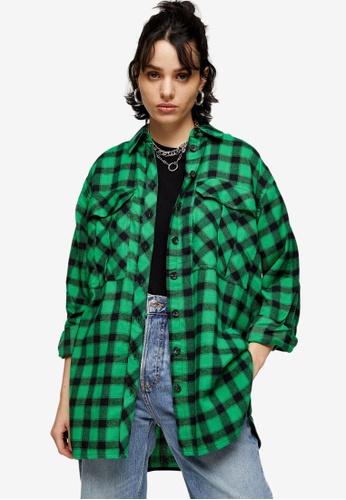 TOPSHOP green Green Check Oversized Casual Shirt 08E03AA7E6B9A0GS_1