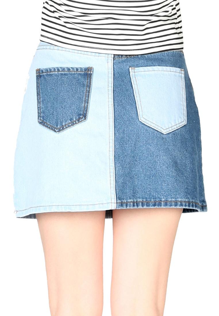 blue Skirt Mini Block London Denim Rag Color Rag women London qz7xf8W