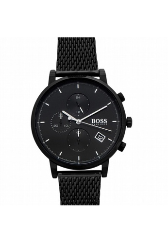 Hugo Boss [NEW] Hugo Boss Hugo Boss Men's Analogue Quartz Watch with Stainless Steel Strap Biack Watch  43MM HB1513813 EEA03ACE3583B5GS_1