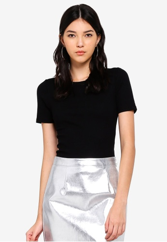 Miss Selfridge black Black Crew Neck Ribbed T-Shirt 83B85AA0D9BF30GS_1