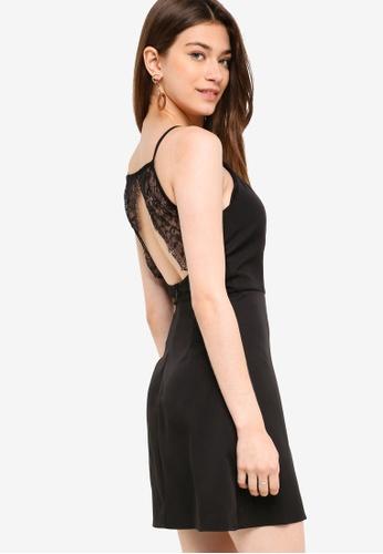 Something Borrowed black Back Detailed Lace Trim Dress 366D0AA365C4E9GS_1