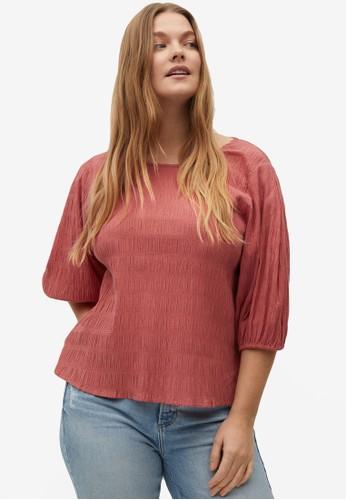 Violeta by MANGO red Plus Size Textured Cotton Blouse C9D34AAF84559CGS_1