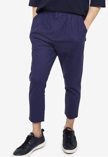 ZALORA BASICS navy Elastic Waist Cropped Trousers 5C0F6AAAF85292GS_1