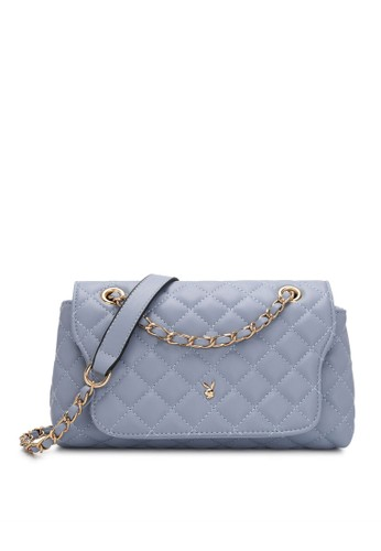 PLAYBOY BUNNY blue Diamond Chain Sling Bag 3AD24ACD3FA7FBGS_1