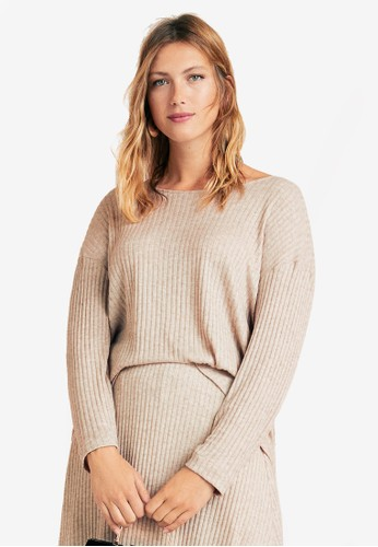 Violeta by MANGO beige Plus Size Ribbed Knot Top 02C73AA46F3516GS_1