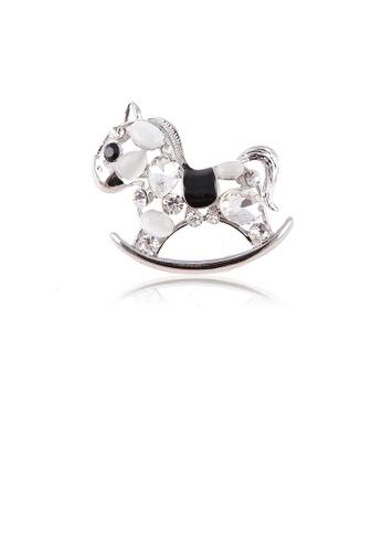 Glamorousky white Fashion and Cute Black Trojan Opal Brooch with Cubic Zirconia DB4F7ACBF510C5GS_1