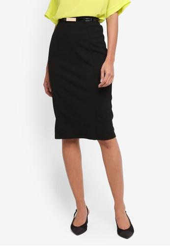Dorothy Perkins black Black Belted Pencil Skirt 378E9AAB941015GS_1