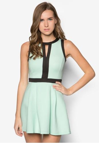 撞色滾邊連身zalora 手錶 評價裙, 服飾, 短洋裝
