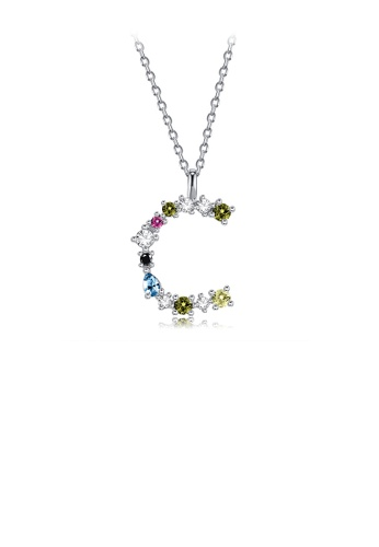 Glamorousky silver 925 Sterling Silver Fashion Simple Color English Alphabet C Pendant with Cubic Zirconia and Necklace 64153AC10159DDGS_1