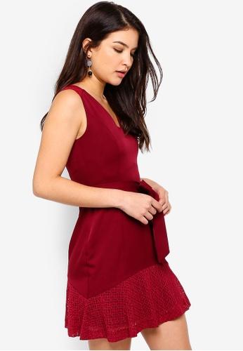 ZALORA red Scoop Neck Lace Dress E6E1BAA9B33042GS_1