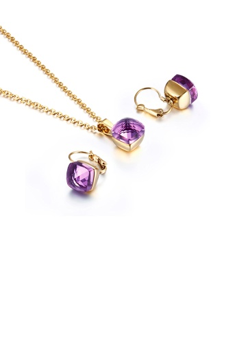 Glamorousky purple Fashion and Simple Plated Gold Geometric Square 316L Stainless Steel Necklace and Earrings Set with Purple Cubic Zirconia E9034AC6010B72GS_1