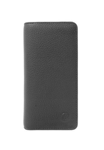 Volkswagen grey Volkswagen Genuine Leather RFID Blocking Long Wallet 458D5AC2B2E082GS_1