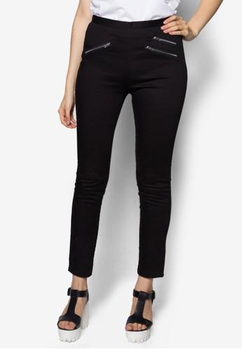 拉鍊窄zalora 鞋評價管休閒長褲, 服飾, 緊身褲