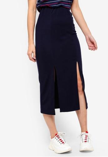 Something Borrowed navy Midi Skirt With Slits 6FA61AAE0B2B4FGS_1