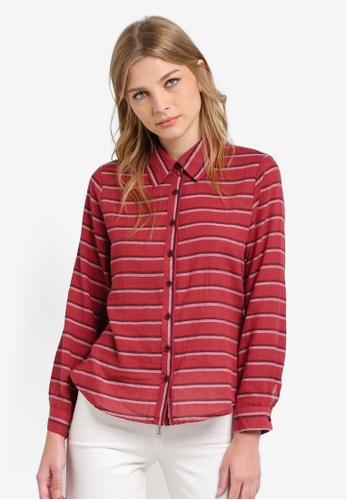 Geb. red Long Sleeve Stripe Shirt GE945AA0RWD0MY_1