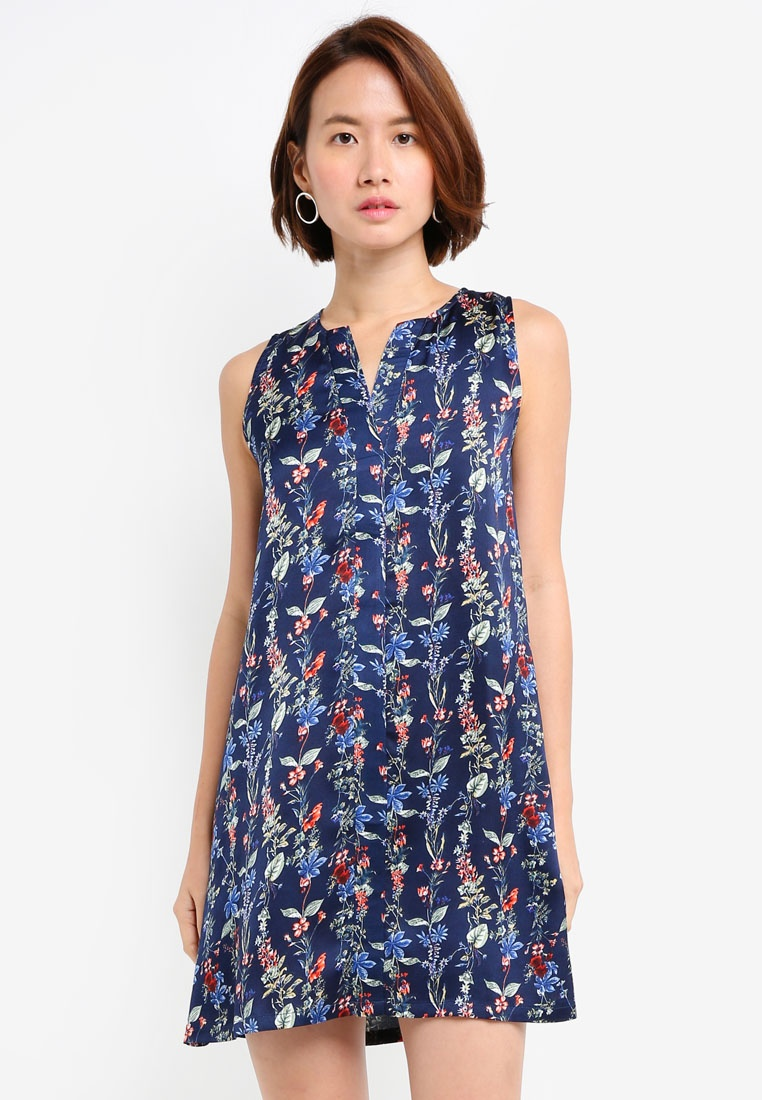 Navy Floral ZALORA A Line Dress qxtxZ1fTw