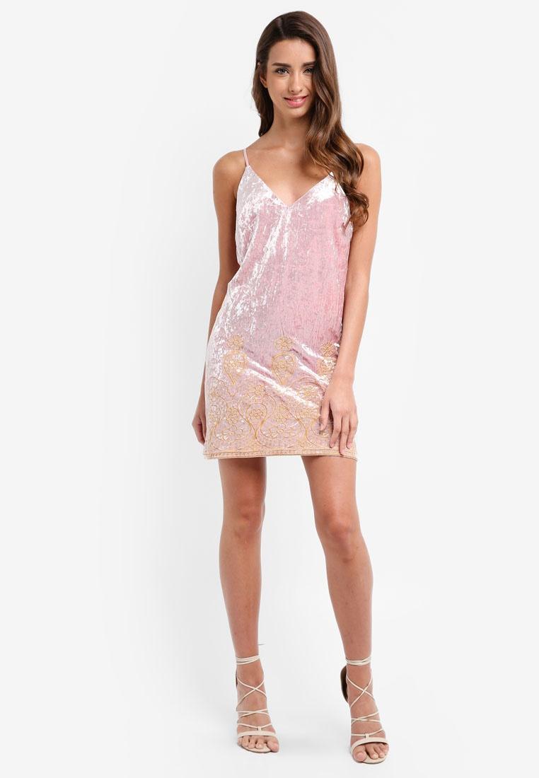 Light Dress Glamorous Velvet Pink Ladies qxvwgPCRn
