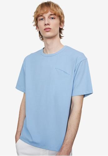 URBAN REVIVO blue Basic T-Shirt 8AE86AAF1F8E73GS_1