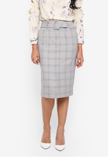 Dorothy Perkins pink Check Belted Pencil Skirt 51E4BAA907F1D1GS_1