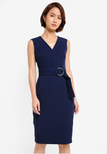 Dorothy Perkins navy Navy O-Ring Belted Dress D56C0AACD0DF9EGS_1