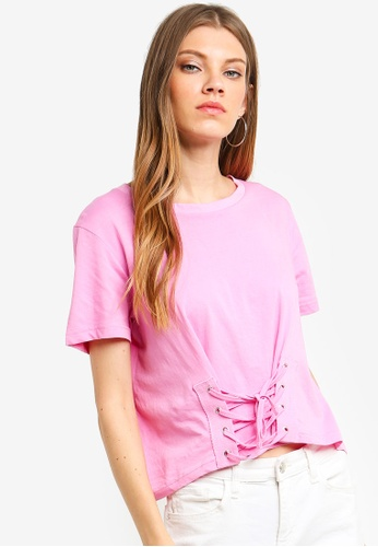 Brave Soul pink Square Cut Tee With Eyelet And Tie Detail At The Front 1BB30AA522D7E7GS_1