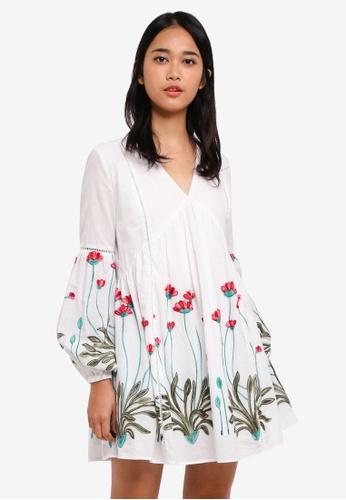 Something Borrowed white Trim Detail Babydoll Dress C7552AA14915FCGS_1