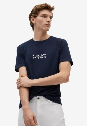 Mango Man blue Logo Organic Cotton T-Shirt 45E38AA12993BEGS_1